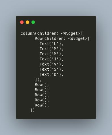 código de columnas y filas