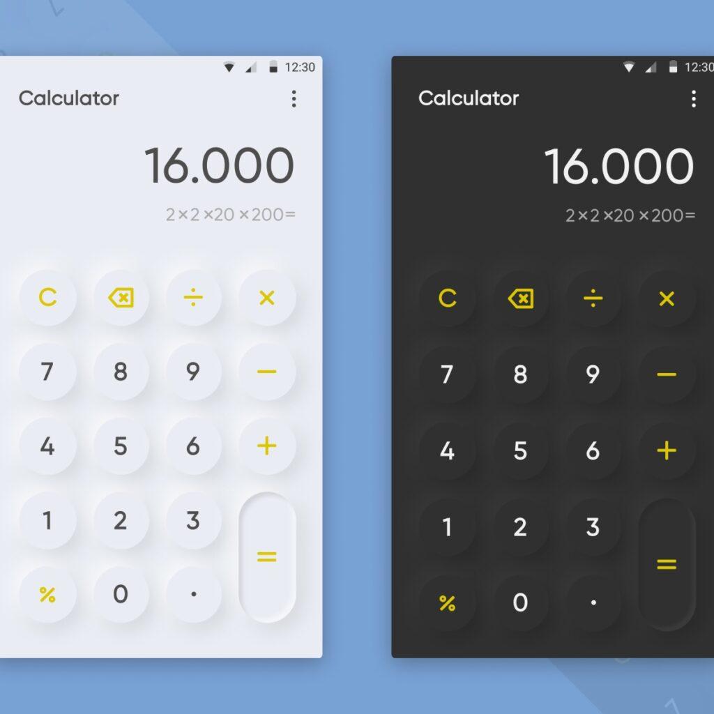ejemplo de calculadoras, neumorficas
